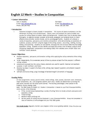 English 12 Merit Studies in Composition