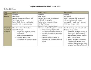 English Lesson Plans for March 11-15, 2013