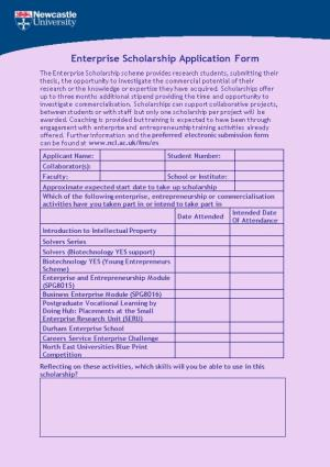 Enterprise Scholarship Application Form
