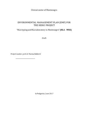 Environmental Management Plan (Emp) For