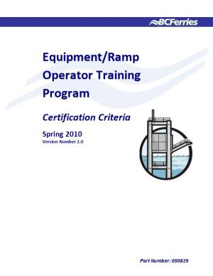 Equipment/Ramp Operator Training Program
