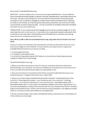 Essay Lesson 5: Extended Definition Essay