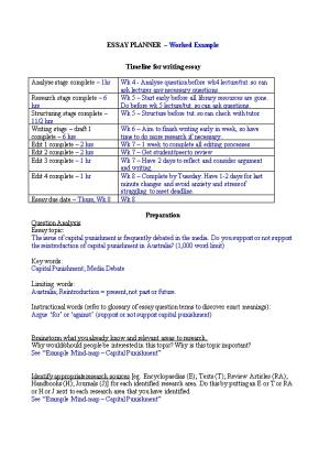 ESSAY PLANNER - Print This Section and Fill out When Beginning an Essay