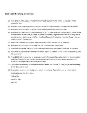 Esso Cup Scholarship Guidelines