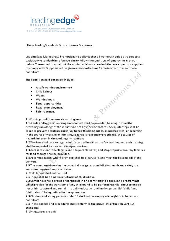 Ethical Trading Standards & Procurement Statement