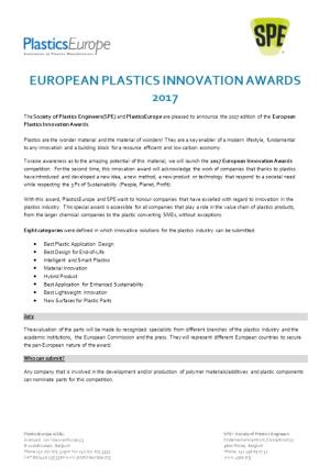 European Plastics Innovationawards 2017