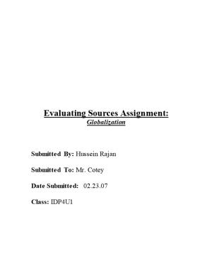 Evaluating Sources Assignment