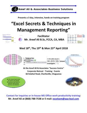 Excel Secrets & Techniques in Management Reporting