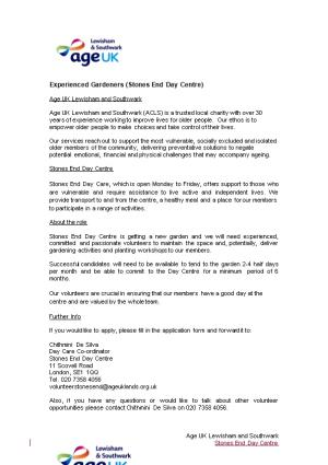 Experienced Gardeners (Stones End Day Centre)