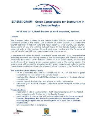 EXPERTS GROUP Green Competences for Ecotourism in the Danube Region
