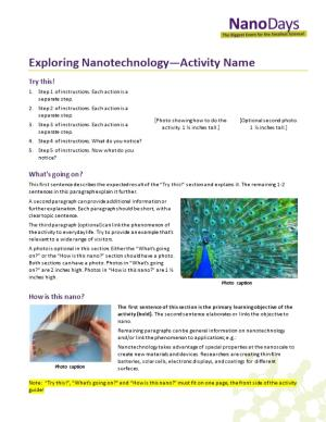 Exploring Nanotechnology Activity Name