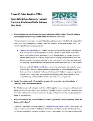 (FAQs) Revised Draft Rules Addressing Hydraulic Fracturing Activities within the Delaware River Basin