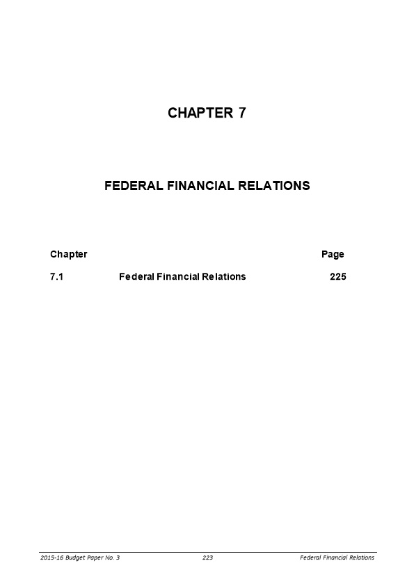 Federal Financial Relations