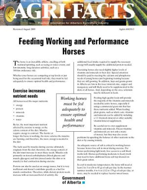 Feeding Working and Performance Horses