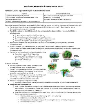 Fertilizers, Pesticides & IPM Review Notes