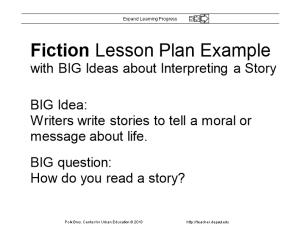 Fiction Lesson Plan Example with BIG Ideas About Interpreting a Story