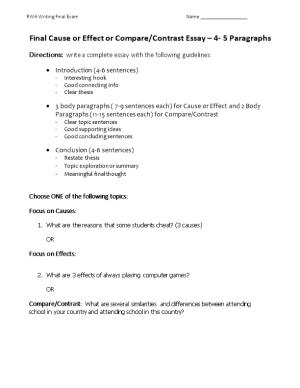 Final Cause Or Effect Or Compare/Contrast Essay 4- 5 Paragraphs