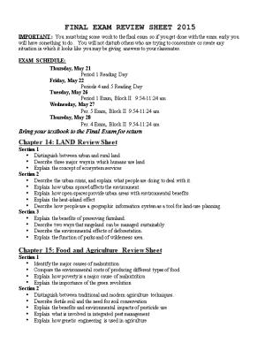 Final Exam Review Sheet 2007