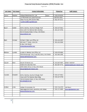 Financial Early Neutral Evaluation (FENE) Provider List