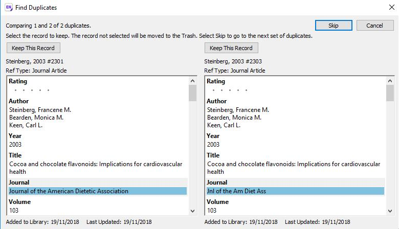 screenshot showing two duplicate records to select from with differing fields highlighted