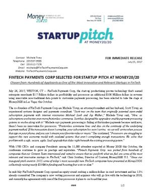 Fintech Payments Corp Selected for Startup Pitch at Money20/20