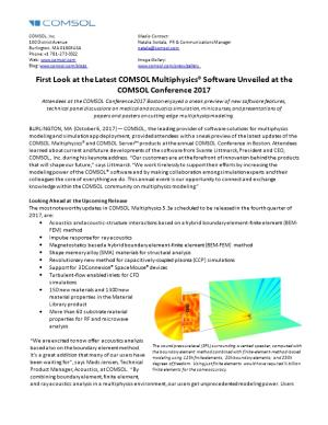 First Look at the Latest COMSOL Multiphysics Software Unveiled at the COMSOL Conference 2017