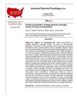 Fitness and Health in College Students: Changes Across 15 Years of Assessment