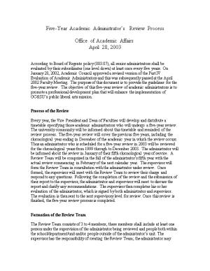 Five-Year Academic Administrator S Review Process