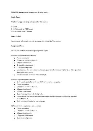 FMA-F2.X Management Accounting - Grading Policy