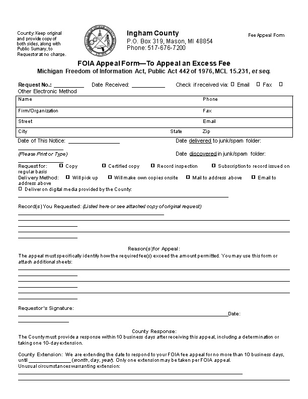 FOIA Appeal Form to Appeal an Excess Fee