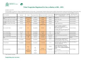 Foliar Fungicides Registered for Use on Barley in WA 2015