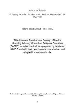 Following the Violent Incident in Woolwich on Wednesday 22Nd. May 2013