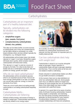 Food Fact Sheet Carbohydrates