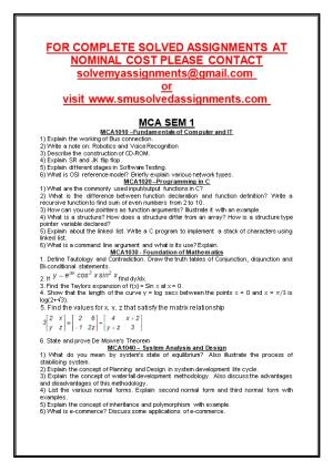 For Complete Solved Assignments at Nominal Cost Please Contact