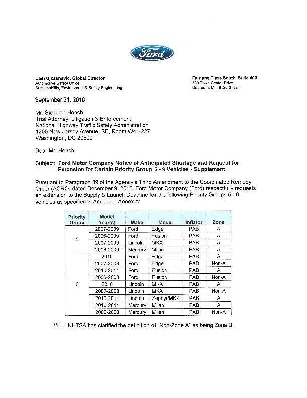 Ford Motor Company Notice of Anticipated Shortage and Request
