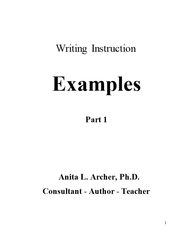 Foundations for Writing in the Middle and High School