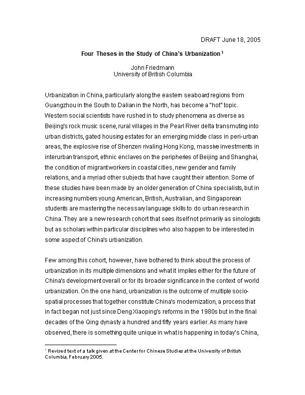 Four Theses in the Study of China S Urbanization 1