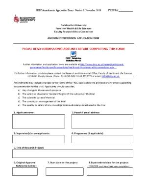 FREC - Ethics Amendments Application Form (Nov 2016)