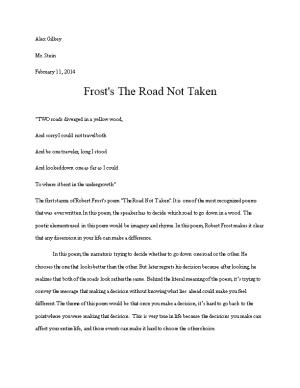 Frost's the Road Not Taken