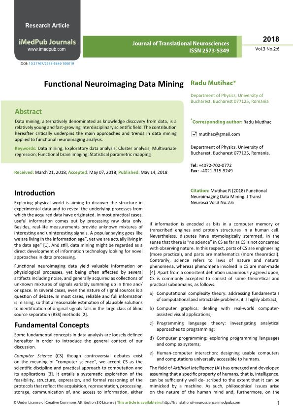 Functional Neuroimaging Data Mining