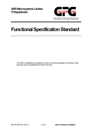 Functional Specification Standard