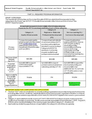 FY2017 Fund Code 530 Quality Enhancements in After-School and Out-Of-School Time Part III