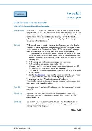 GCSE Revision Tasks and Timetable