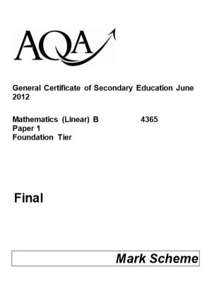 General Certificate of Secondary Education June 2012