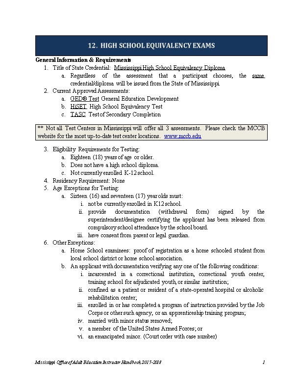 General Information & Requirements