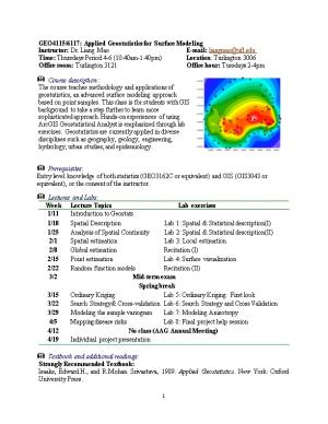GEO4115/6117: Applied Geostatistics for Surface Modeling