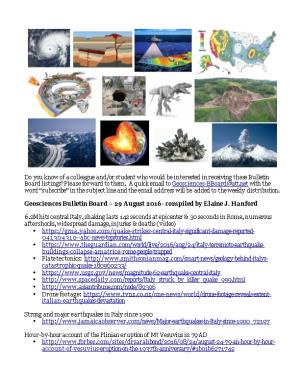Geosciences Bulletin Board 29 August 2016 - Compiled by Elaine J. Hanford