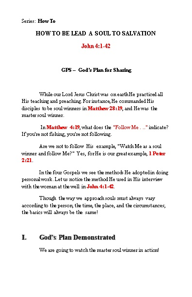 GPS God S Plan for Sharing