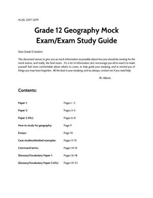 Grade 12 Geography Mock Exam/Exam Study Guide