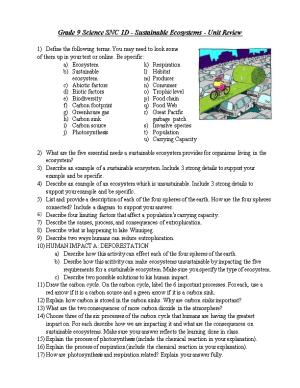 Grade 9 Science SNC 1D - Sustainable Ecosystems- Unit Review